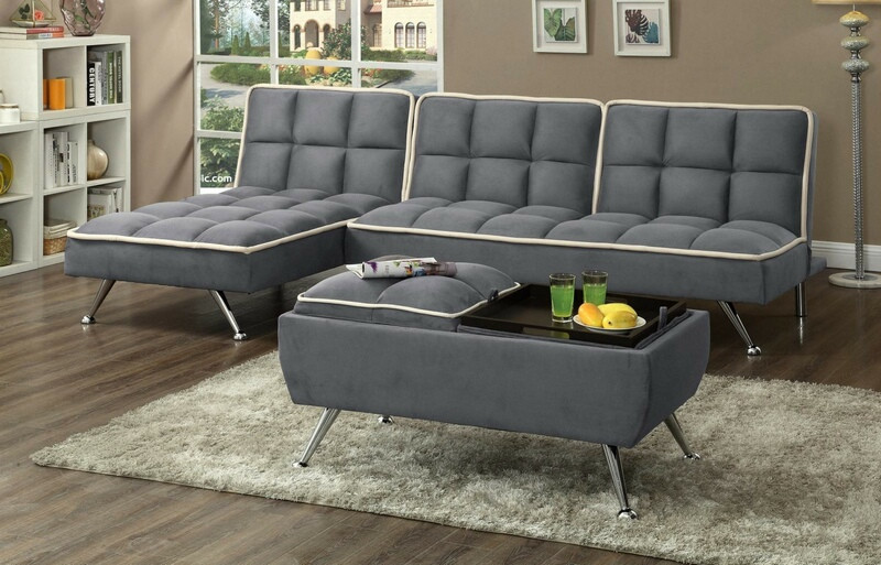 Asia Direct 2091GY-3PC 3 pc Set gray easy rider fabric accented piping tufted adjustable futon sofa , chaise and ottoman
