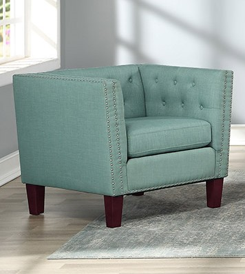 Asia Direct 2101-MINT Red barrel studio Byars mint faux linen fabric upholstered nail head trim accent chair