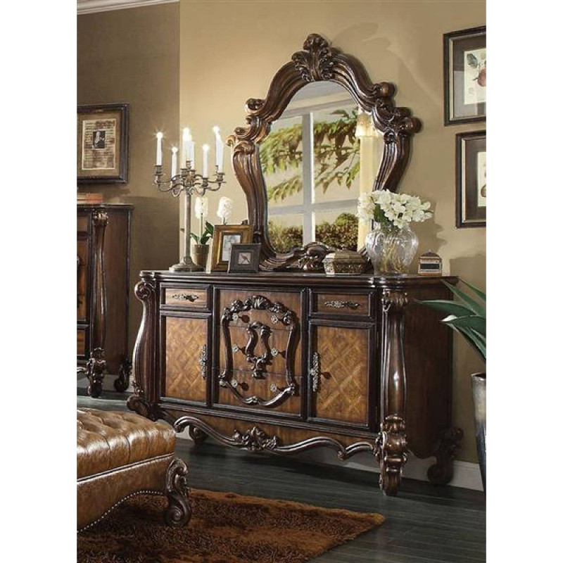 Acme 21104 05 2 Pc Versailles Cherry Oak Finish Wood Dresser And Mirror Decorative Carvings