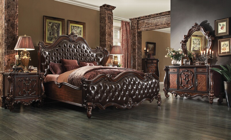 ACM21120Q 5 pc Versailles Collection cherry oak finish wood queen bedroom set with decorative carvings and tufted designs