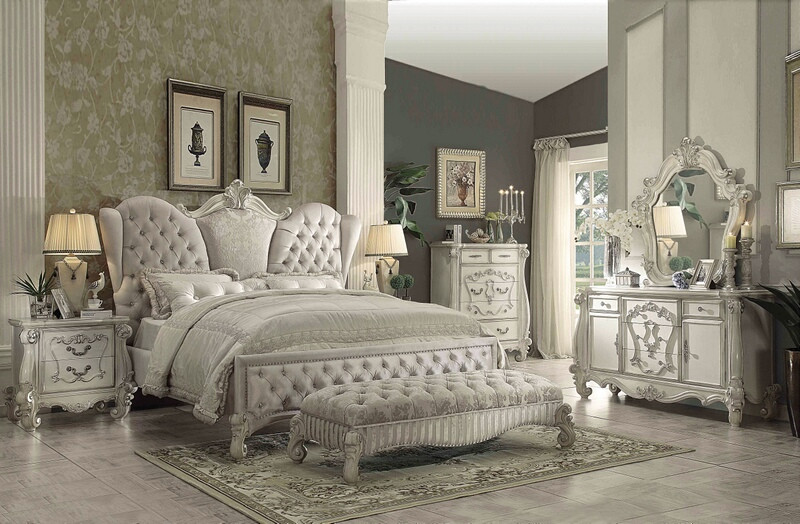 ACM21130Q 5 pc Versailles collection bone white finish wood and ivory velvet fabric headboard queen bedroom set