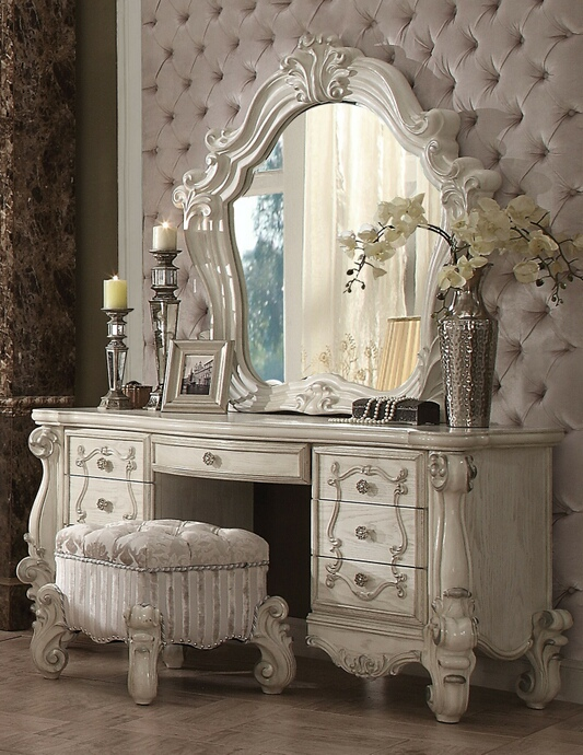 ACM21137-38-34 3 pc versailles collection bone white finish wood bedroom make up vanity