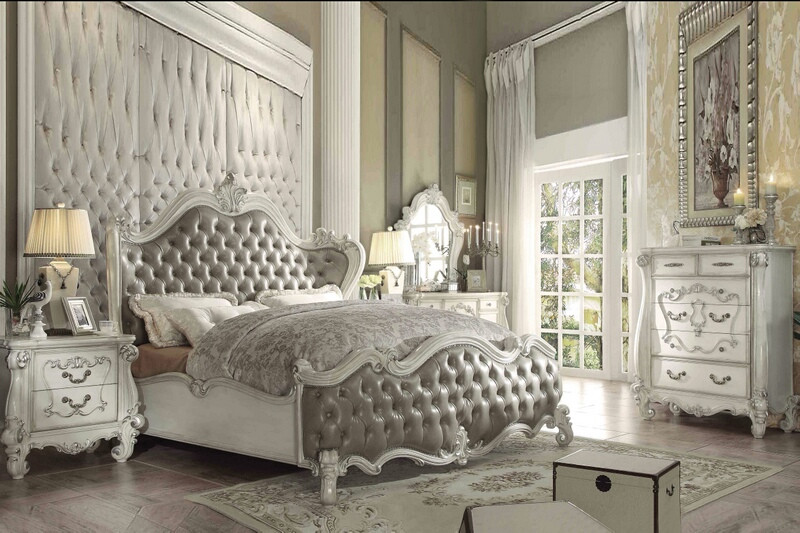 ACM21150Q 5 pc Versailles collection bone white finish wood and vintage gray faux leather headboard queen bedroom set