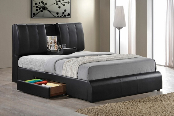 ACM21270Q Kofi black leather like vinyl modern style queen bed frame set with built in center tray on headboard