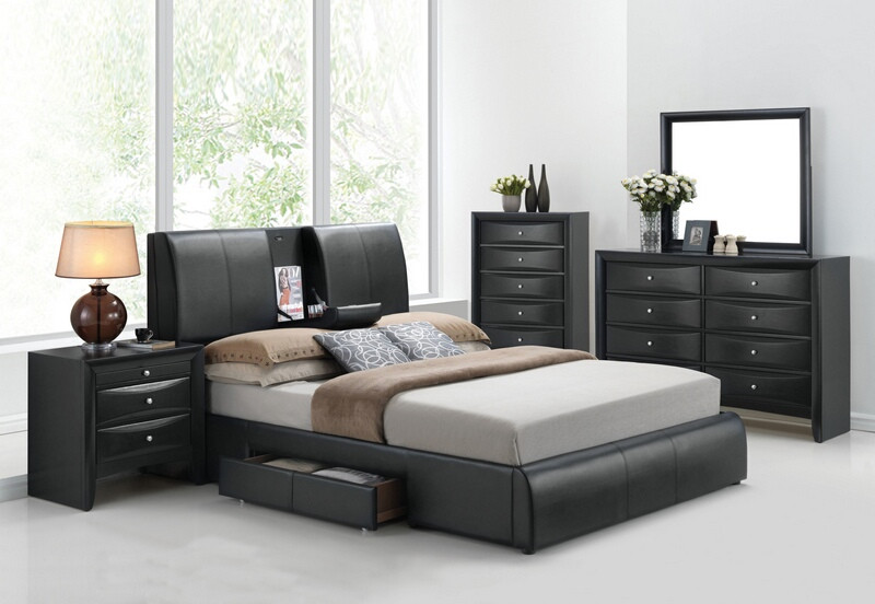 ACM21270Q5pc 5 pc Kofi collection black finish wood queen bedroom set with black vinyl padded headboard