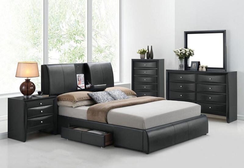 Acme 21270Q 5 pc kofi black finish wood black faux leather storage arm queen bed set