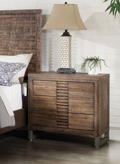 Andria weathered oak finish wood 3 drawer nightstand bed side end table
