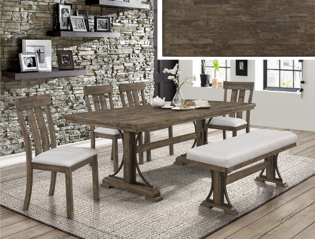 2131t 6 Pc Quincy Rustic Brown Finish Wood Style Metal Leg Dining Table Set