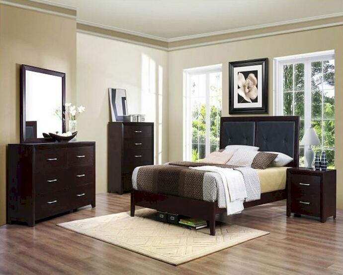 HE-2145-5PC 5 pc Vestavia collection espresso / cherry finish wood bedroom set
