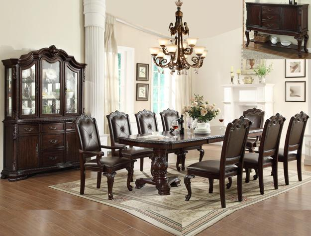 2150T 7 pc Astoria grand kiera brown finish wood formal dining table set with carved accents