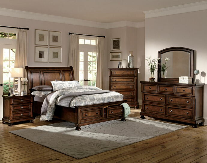 HE-2159-5PC 5 pc Cumberland collection rich medium brown finish wood sleigh bedroom set