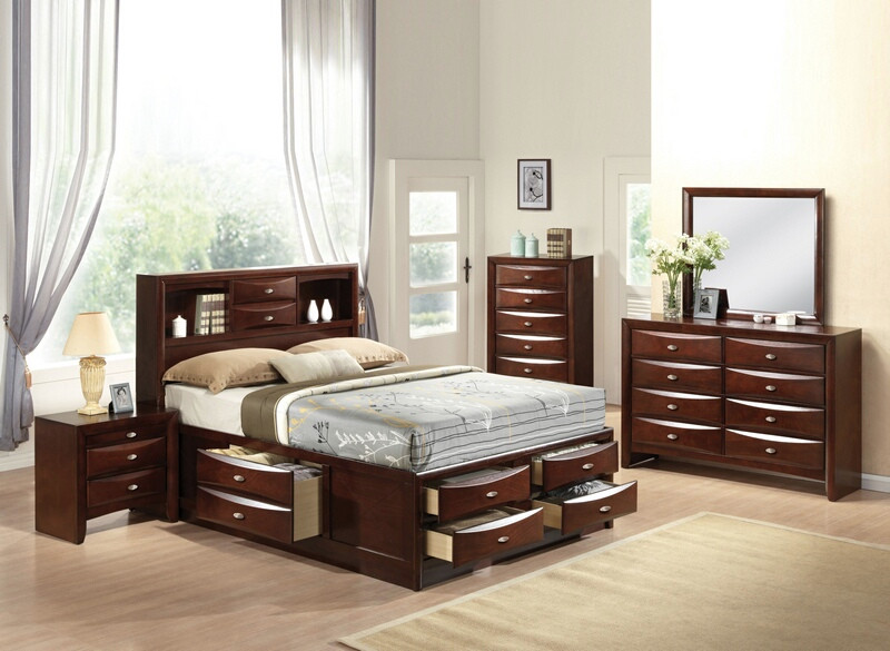 ACM21600Q 5 pc Ireland Collection Espresso finish wood queen captains bedroom set with storage drawers underneath