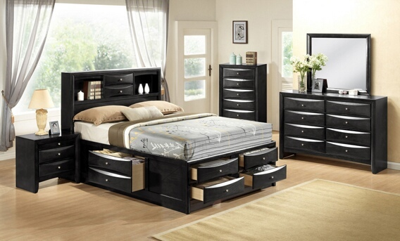 ACM21610Q 5 pc Ireland Collection Black finish wood queen captains bedroom set with storage drawers underneath