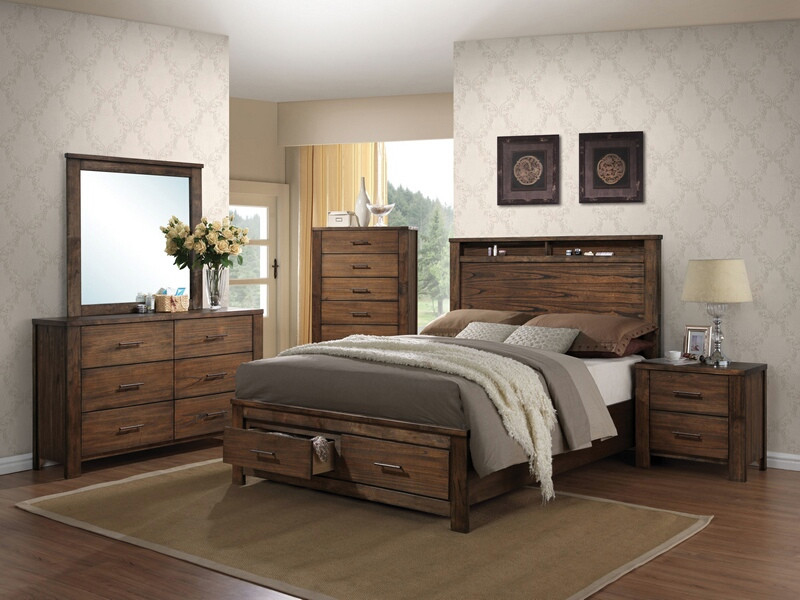 ACM21680Q 5 pc Merrilee collection oak finish wood headboard with storage queen bedroom set