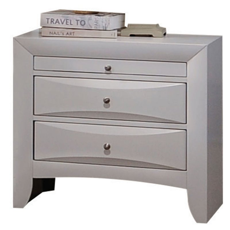 Acme 21704 Ireland white finish wood 2 drawer nightstand bed side end table
