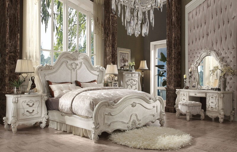ACM21760Q 5 pc Versailles collection bone white finish wood carved accents headboard queen bedroom set