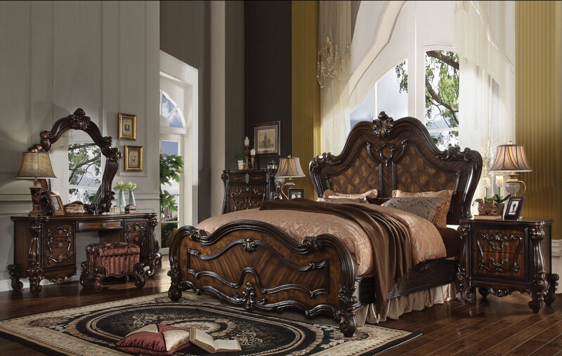 ACM21790Q 5 pc Versailles collection cherry oak finish wood carved accents headboard queen bedroom set