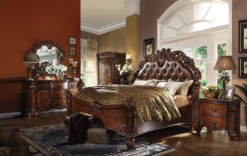 ACM22000Q 5 pc Vendome II collection cherry finish wood queen bedroom set with cherry upholstery