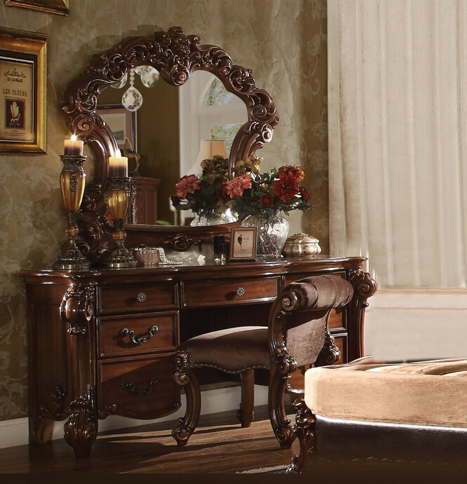 ACM22009-10-04 3 pc vendome collection cherry finish wood bedroom make up vanity