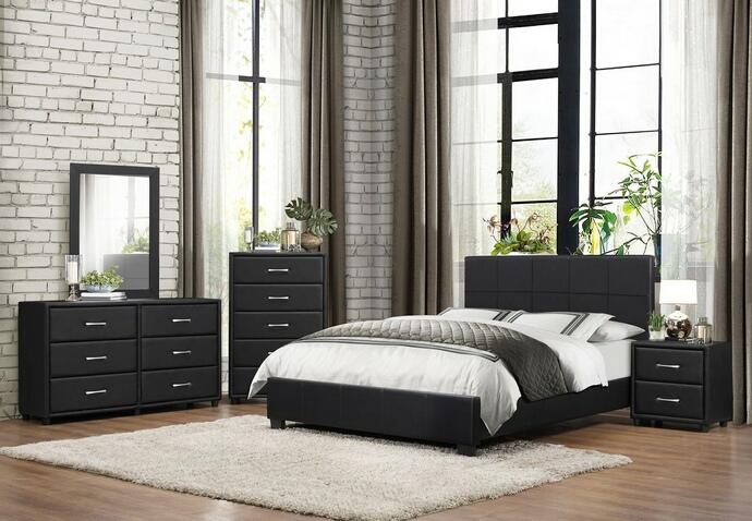 HE-2220-5PC 5 pc Lorenzi collection black vinyl upholstered bedroom set