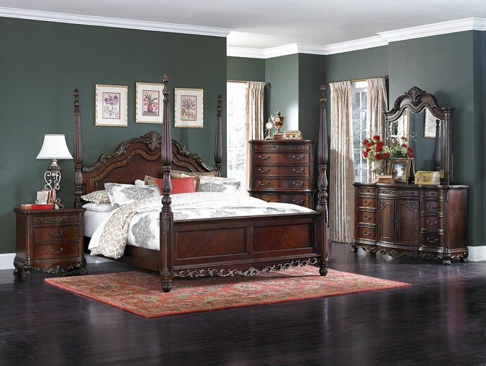 Home Elegance 2243-5PC 5 pc deryn park collection cherry finish wood carved  accents 4 poster bedroom set