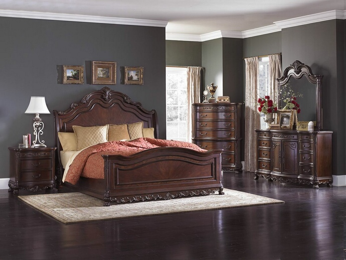 HE-2243SL-5PC 5 pc Deryn Park II collection cherry finish wood carved accents bedroom set