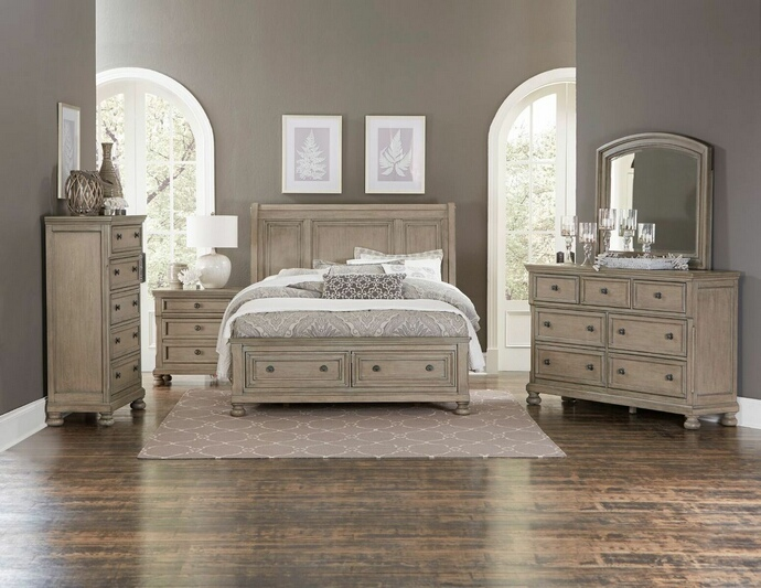 HE-2259GY-5PC 5 pc Bethel collection gray wire brush finish wood bedroom set
