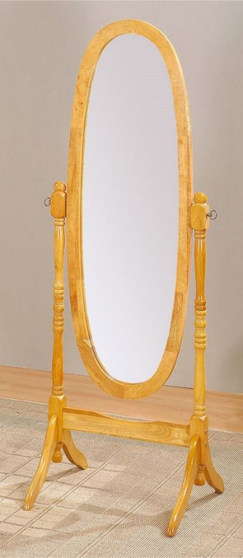 Acme 02289 Oak finish wood full length free standing cheval floor mirror