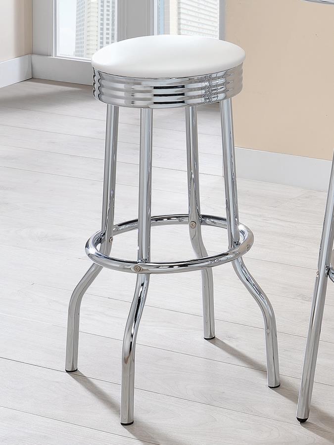 2299W Set of 2 chrome finish metal bar stools with white vinyl seats