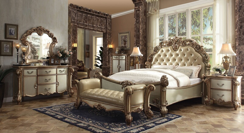 ACM23000Q 5 pc Vendome collection gold patina finish wood queen bedroom set with bone upholstery