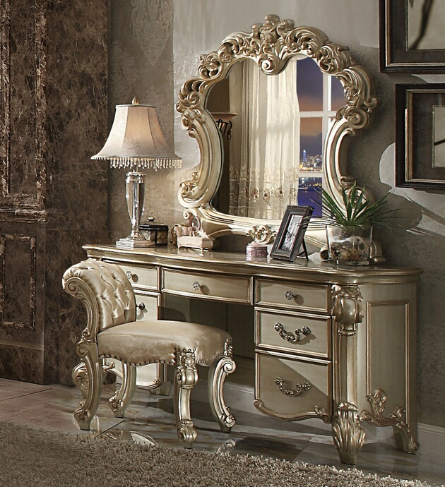 ACM23007-08-04 3 pc vendome collection gold patina finish wood bedroom make up vanity