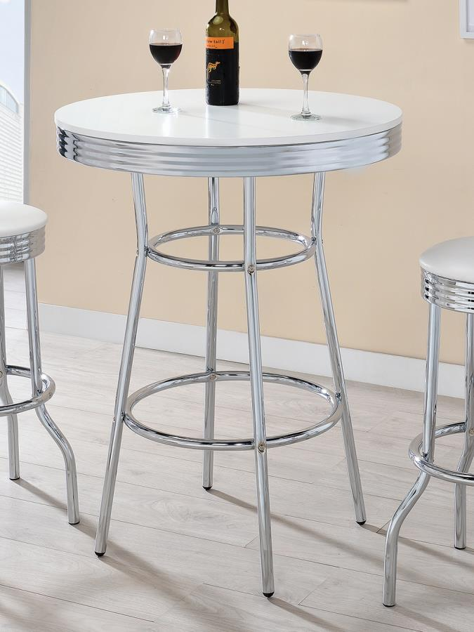 2300 Warrensburg westgate retro 50's style chrome and white round bar table
