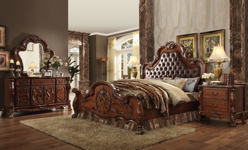 ACM23140Q 5 pc Dresden collection cherry oak finish wood queen bedroom set with tufted upholstery