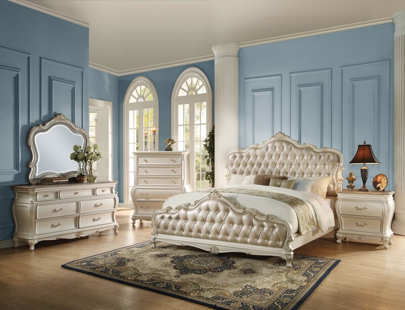 ACM23540Q 5 pc chantelle collection pearl white finish wood queen bedroom set with rose gold upholstery