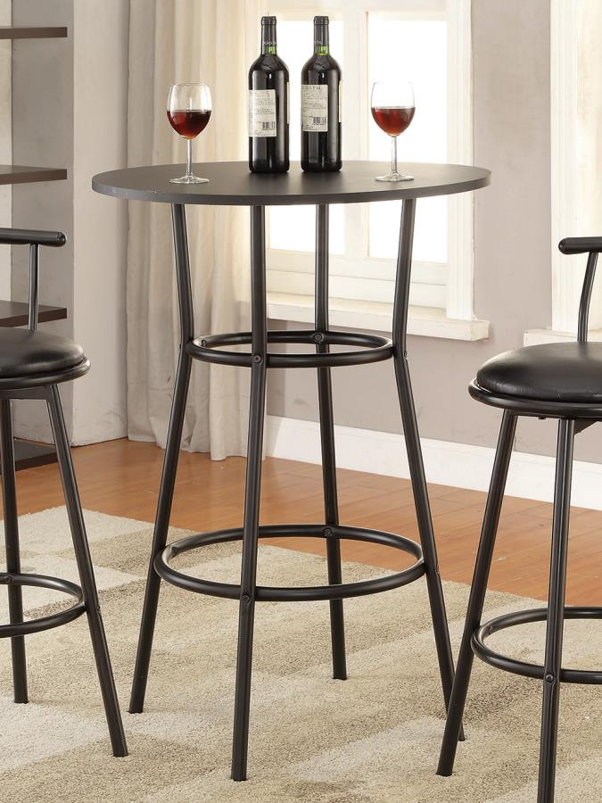 2383 Wrought studio staged black finish wood and metal round top bar table