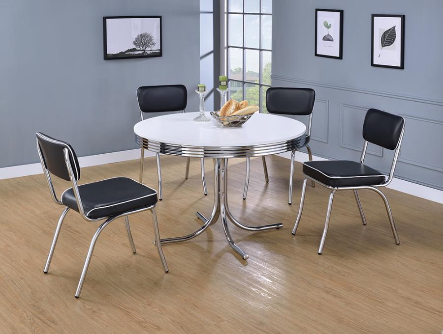 2388-2066 5 pc Orren ellis yother retro chrome finish 50's diner round white top dining table set