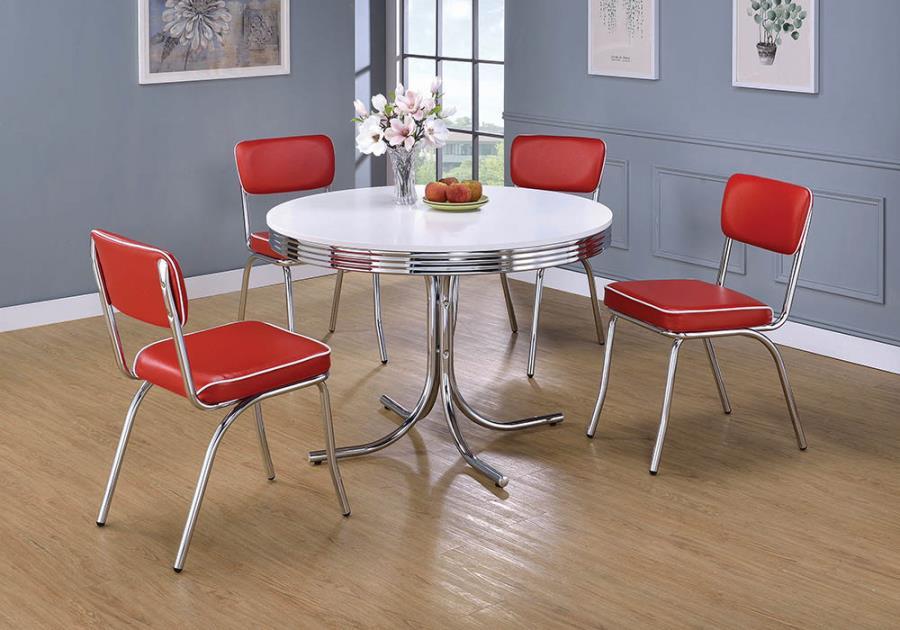 2388-2450R 5 pc retro chrome finish 50's diner round white top dining table set