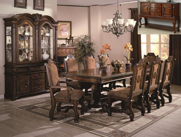 Detailed images & 2400T 7 pc neo renaissance cherry brown finish wood formal dining ...