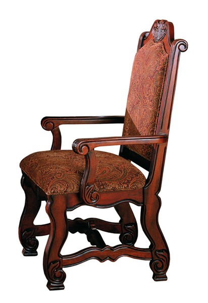 2400A Set of 2 neo renaissance cherry brown finish wood formal dining arm chairs with upholstered seat and back