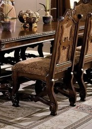 2400S Set of 2 Neo renaissance cherry brown finish wood formal dining side chairs with upholstered seat and back