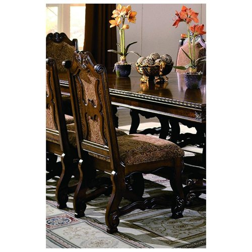 2401S Set of 2 Neo renaissance side chairs with wood accents and padded seat and back