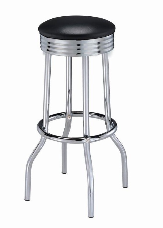 Marvelous 2408 Set Of 2 Aaden Summit Retro Chrome Bar Stools Black Vinyl Padded Seats Inzonedesignstudio Interior Chair Design Inzonedesignstudiocom