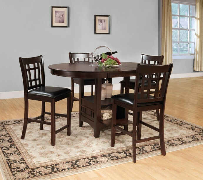 HE-2423-36 5 pc Junipero collection dark cherry finish wood counter height dining table set with upholstered seats