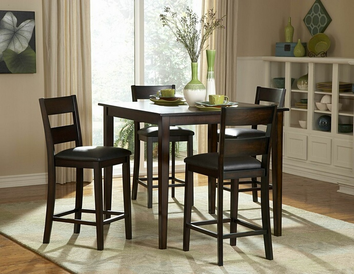 HE-2425-36 5 pc Griffin collection black finish wood counter height dining table set with upholstered seats