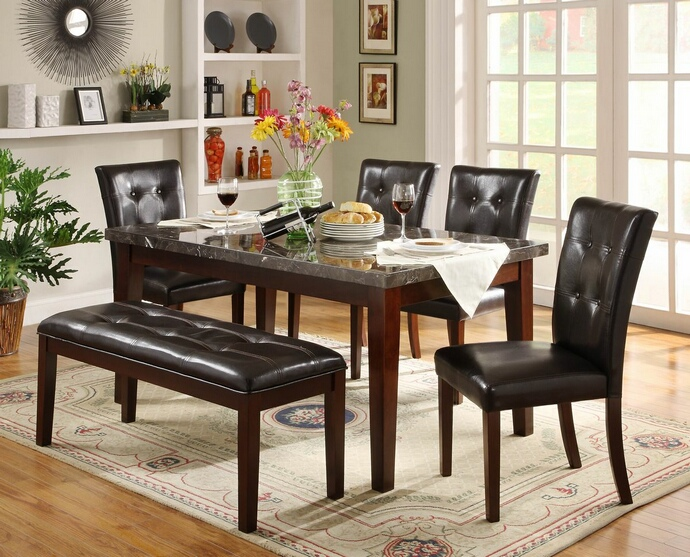 HE-2456-64-6pc 6 pc Decatur collection espresso finish wood and marble top dining table set with upholstered seats