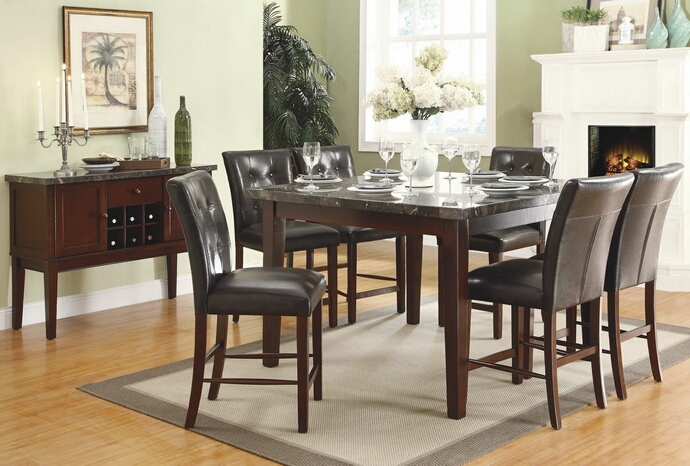 HE-2456-36 7 pc Decatur collection espresso finish wood and marble top counter height dining table set with upholstered seats
