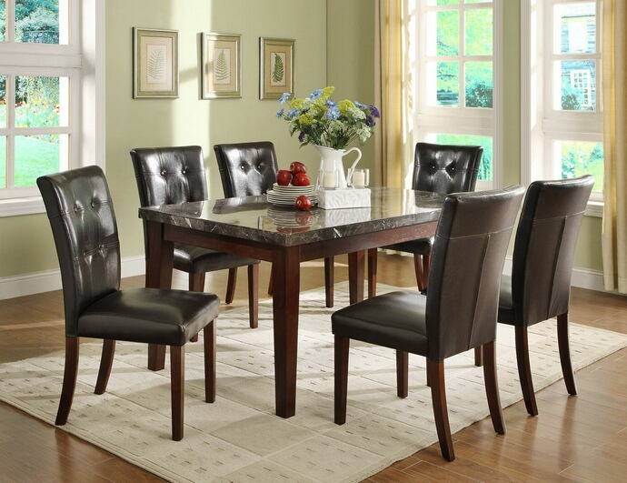 Homelegance 2456-64 7 pc decatur espresso finish wood and marble top dining table set with seats