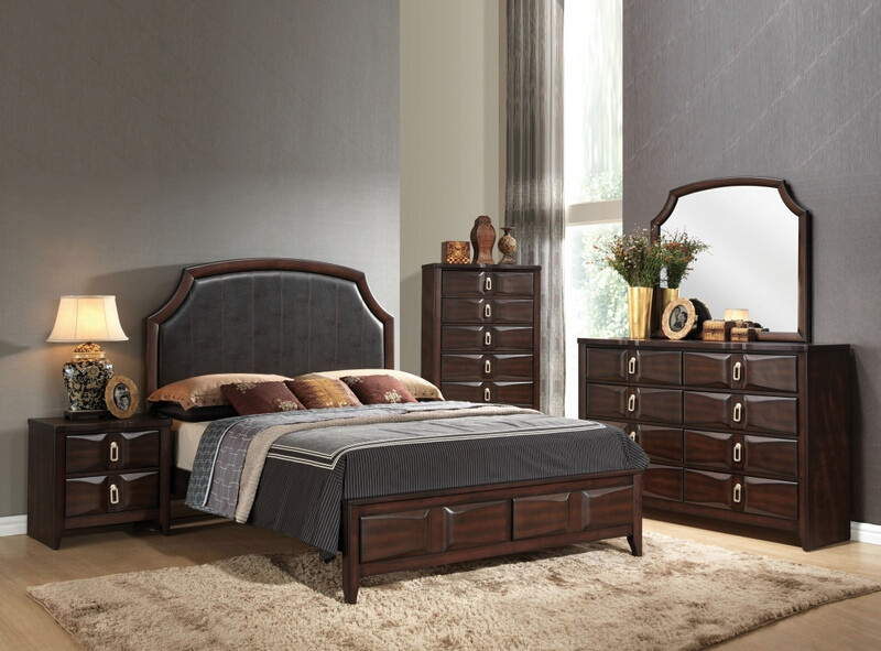 ACM24570Q 5 pc Lancaster collection espresso finish wood queen espresso padded bedroom set