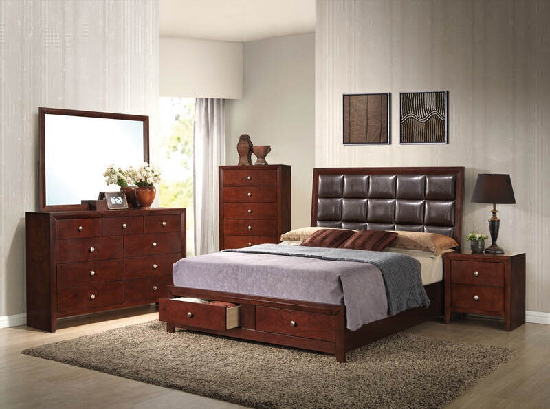 ACM24590Q 5 pc Ilana collection brown cherry finish wood queen bedroom set with storage drawers