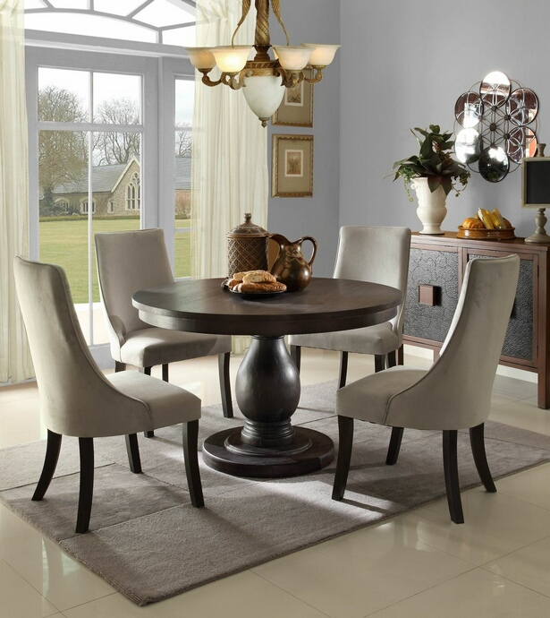 HE-2466-48 5 pc Dandelion collection distressed dark brownish grey finish round dining table set